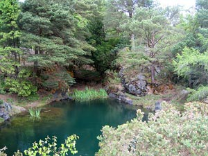 blue water above an old mine shaft, Ross Island