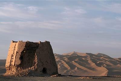 Han dynasty watchtower overlooking the Taklamakan desert in western Gansu province