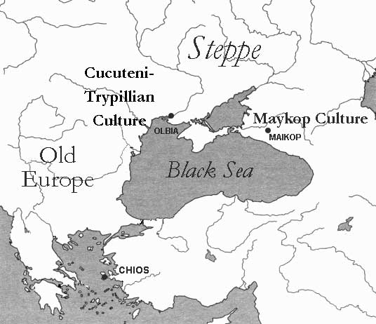 Map of the black sea and the cultures discussed in the post