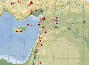 distribution of Cappadocian obsidian to the west through Anatolia down to the coast and down the Levant