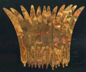 Gold 'feather' headdress from Sican culture, Peru