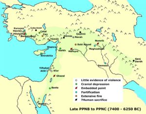 Possible signs of conflict in the Late PPNB and PPNC in the Near East.